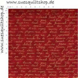 Stof Quilters Basics Schrift gold auf rot >>> nur Fat Quarter <<<