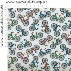 Timeless Treasures Mini Bicycles kleine Fahrräder bunt auf weiss