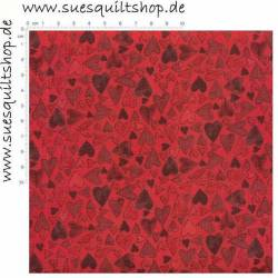 Stof Quilters Hearts2You Herzen rot auf rot