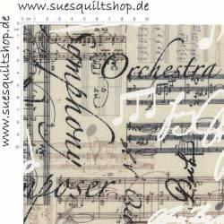 Timeless Treasures Music Sheet and Notes, Noten und Schrift schwarz weiß leinenfarben