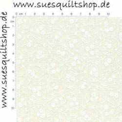 Muslin bedruckt weiß auf natur, kreisförmige Ranken Blumen