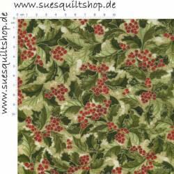 Robert Kaufman Holly Leaves & Berries Metallic, Stechpalmenblätter grün rot beige