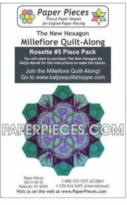 Papierschablonen für Rosette  #5 for The New Hexagon Millefiore Quilt-Along