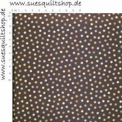 Benartex Tranquility Punkte klein blau grau taupe auf dunkelbraun