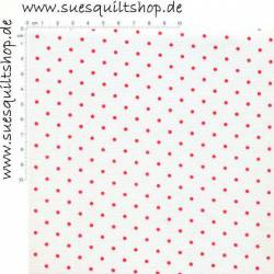 Lakehouse Red on White Dots, Punkte hellrot pink auf weiss