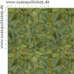 Timeless Treasures Batik Moss Mini Leaves Blätter moosgrün