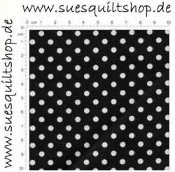 David Textiles Punkte weiß auf schwarz >>> Mindestbestellmenge Reststück 0,8 m <<<