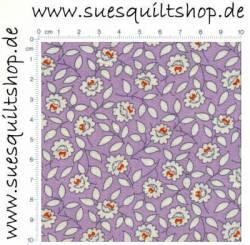 Marcus Brothers 1930s Aunt Grace Scrap Bag 2008 Purple Reproduction Floral, Blümchen weiß-rot auf violett >>>  Mindestbestellmenge 1 Meter <<<