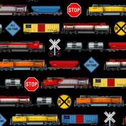 Elizabeths Studio Black Trains, Eisenbahnmotive bunt auf schwarz