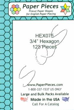 Papierschablonen Hexagons   3/4 inch, ca.  125 stk./Packung