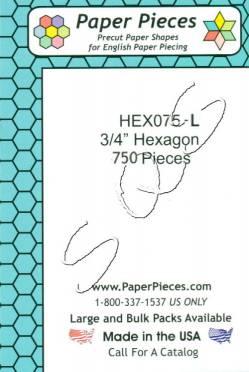 Papierschablonen Hexagons   3/4 inch, ca.  750 stk. Großpackung
