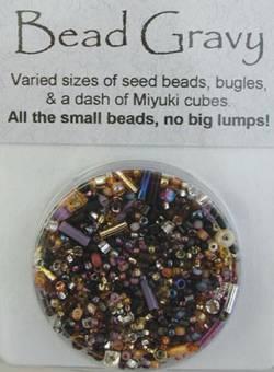 Bead Gravy Caviar Blend, Glasperlen bernstein-violett-schwarze Mischung