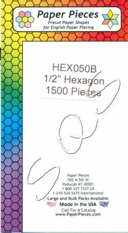 Papierschablonen Hexagons   1/2 inch ca. 1500 stk. Großpackung