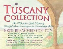 Hobbs Tuscany Collection Bleached Cotton Batting    Queen Size ca. 243,84 x 274,32 cm (96x108 inch) *weiss*