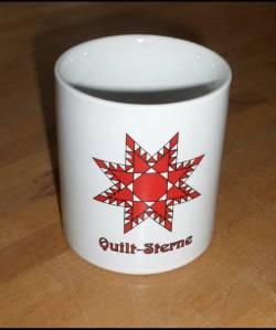 Tasse mit Quilt-Sterne Motiv - mit Schriftzug *Quilt-Sterne*