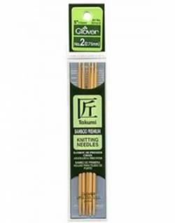 Bambus-Stricknadeln 13 cm lang, Stärke 2.75, Nadelspiel TAKUMI (5 Stück), für Socken