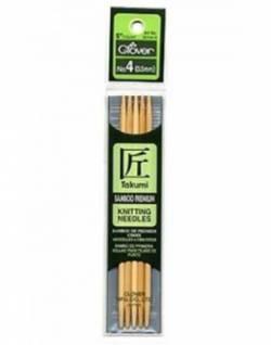 Bambus-Stricknadeln 13 cm lang, Stärke 3.5, Nadelspiel TAKUMI (5 Stück), für Socken