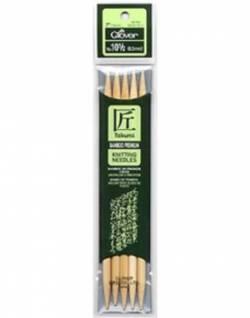 Bambus-Stricknadeln ca. 18 cm lang, Stärke 6.5, Nadelspiel TAKUMI (5 Stück), für Socken