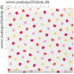 Quilting Treasures Confetti, pink rosa gelb auf weiss >>> Mindestbestellmenge 1 Meter <<<