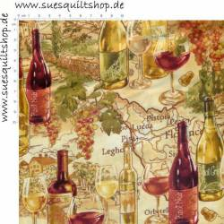 Timeless Treasures Tuscany Wine on Maps Wein auf tan
