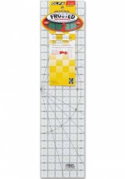 Olfa Frosted Ruler   6x24 INCH, Antirutsch-Lineal mit schwarzen Linien auf milchigem Kunststoff