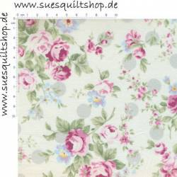 Lecien Princess Rose Rosen pink auf hell >>>  Mini-Bolt 1,39 m <<<