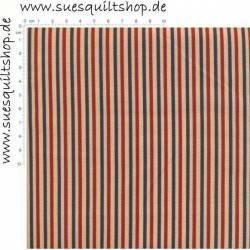 Moda Primitive Gatherings Old Glory, Streifen ecru rot blau >>> Mindestbestellmenge 1 Meter <<<