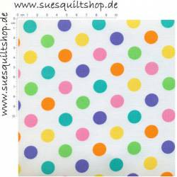 Moda Me My Sister Designs Floral Full Bloom Dots Multi, Punkte pastell-bunt auf weiss
