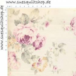 Lecien Durham Quilt Collection große Rosen pink-violett auf creme >>>  Mindestbestellmenge 1 Meter <<<