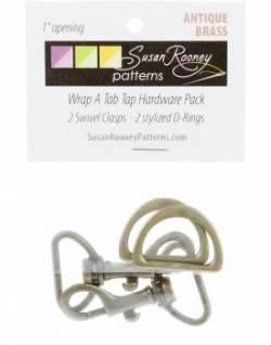 Taschen-Set D-Ringe + Karabinerhaken antique brass