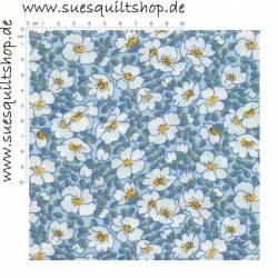 Maywood 1930s Walk In The Park große Blumen weiß auf blau