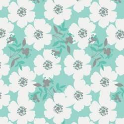 Camelot Fabrics Mint Fresh Picked große Blumen weiss auf mint  >>> Mini-Ballen 1,2 m <<<