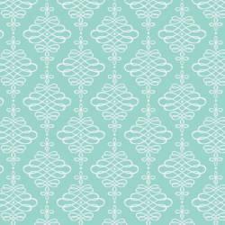 Camelot Fabrics Mint Scrolling Ornamente weiss auf mint >>> Mini-Ballen 1,90 m <<<