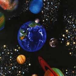 Timeless Treasures Black Planets, Planeten Weltall schwarz bunt