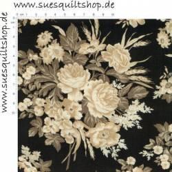 Marcus Brothers 1880s Vintage Onyx große Blumen schwarz beige