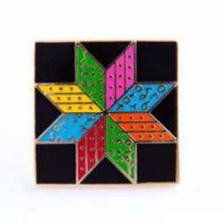 Anstecknadel Eight Pointed Star Achtzackiger Stern Bright/Black