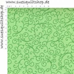 Exclusively Quilters What a Hoot Schnörkel grün auf hellgrün >>> nur noch Fat Quarter <<<