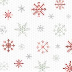Studio E White Reindeer Schneeklristalle bunt auf weiss