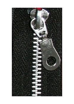 Reißverschluß Metall, Aluminium Zipper, ca. 25 lang, nicht teilbar, schwarz