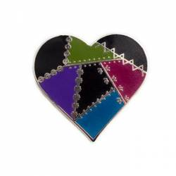 Quilt Charm Patched Heart Dark Color