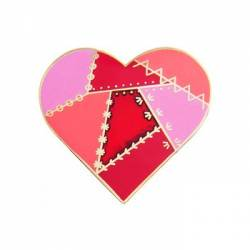 Quilt Charm Patched Heart RED