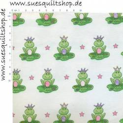 Henry Glass White Frog Prince, Frösche grün auf weiss >>> Mindestbestellmenge 1 Meter <<<