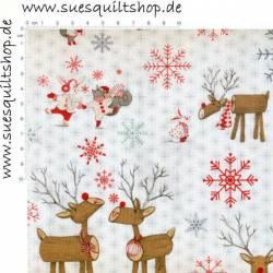 Studio E White Reindeer Rentiere bunt auf weiss >>> Mindestbestellmenge 1 Meter