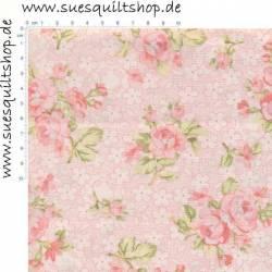 Benartex Romance Rosen rosa auf rosa gepunktet mit weißem Hintergrund