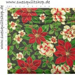 Fabri Quilt Seasons Greetings Poinsettia Weihnachtssterne >> nur noch Fat Quarter <<