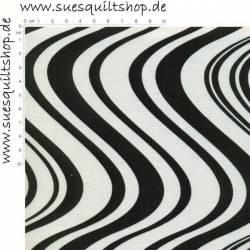 Benartex Cool School Wellen schwarz creme >>> Mindestbestellmenge 1 Meter <<<