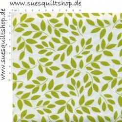 Henry Glass Cruzin Blätter grün auf weiss >>> Mindestbestellmenge 1 Meter <<<