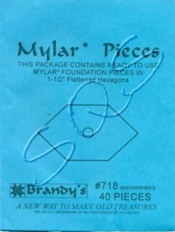 Mylar-Schablonen lange Hexagons  1-1/2 inch, ca. 40 Stück
