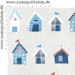 Stof Seaside Strandhäuser blau rot