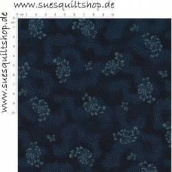 Stof History Repro 1880s Blümchen Punkte dunkelblau